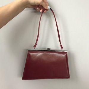 Dark Red Faux Leather Express Shoulder Bag
